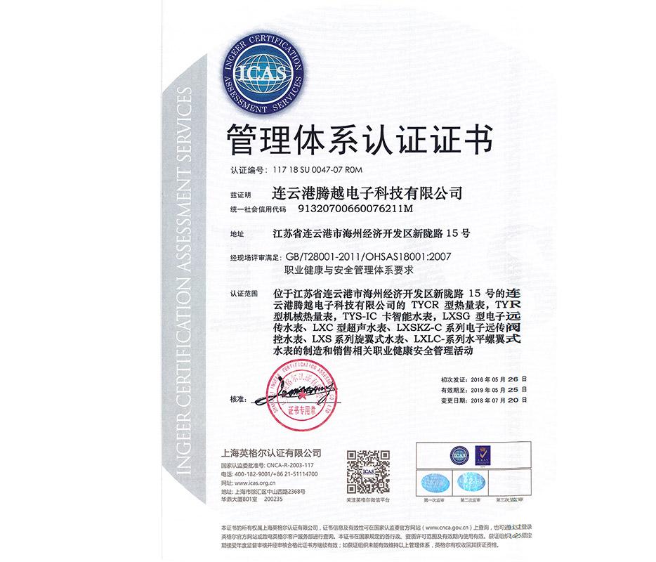 腾越科技职业健康安全管理体系要求认证证书